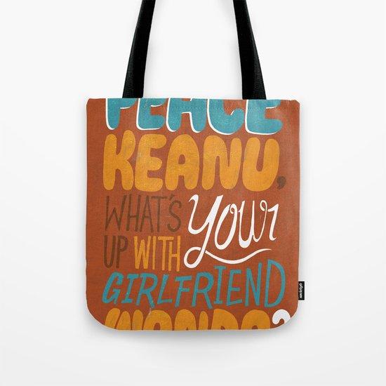 Peace Keanu Tote Bag