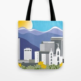 Salt Lake City, Utah - Skyline Illustration by Loose Petals Tote Bag