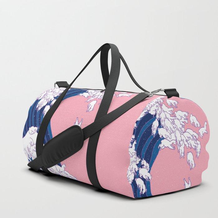 Llama Waves in Pink Duffle Bag