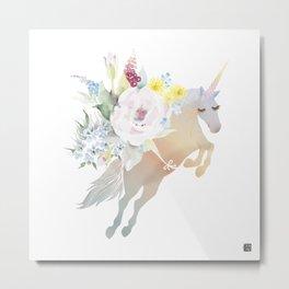 Bouquet Unicorn Metal Print