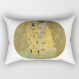 The Kiss - Gustav Klimt - Golden Flower Of Life Rectangular Pillow