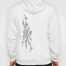 1950s / 1960s Retro Floral Flower Stem Pattern Hoody