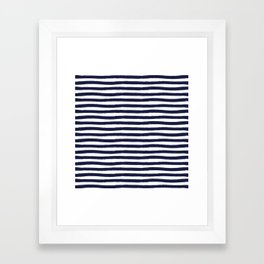 Navy Blue and White Horizontal Stripes Framed Art Print