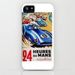 Le Mans 1956, vintage poster, Le Mans t-shirt, 24hs Le Mans iPhone Case