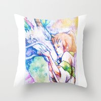 spirited away Throw Pillows featuring Spirited Away by Vouschtein