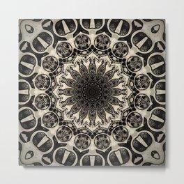Neutral Abstract Black Ink Bohemian Mandala Metal Print