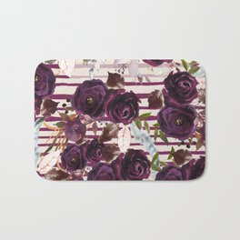 Watercolor ivory purple burgundy brown floral stripes Bath Mat