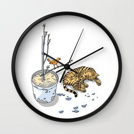 Sleeping cat and singing bird - Animal Lover - Nature -  Tranquility Wall Clock