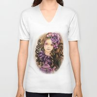 lavender V-neck T-shirts featuring Lavender by Sheena Pike ART