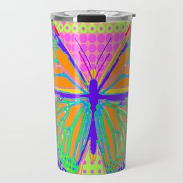 Fantasy Monarch Type Butterfly In Pink, Chartreuse & Indigo-Blue optical Art  Abstract Travel Mug