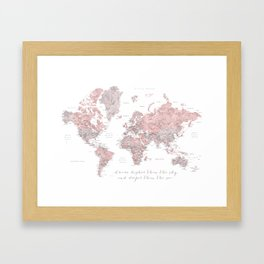 Inspirational detailed world map in dusty pink and gray Framed Art Print