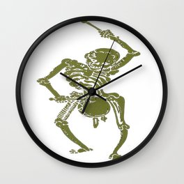 A Zombie Undead Skeleton Marching and Beating A Drum Wall Clock