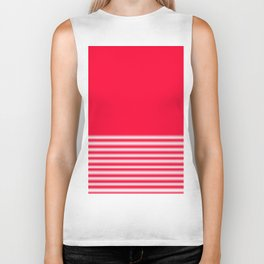 Red Gradient Stripe Biker Tank