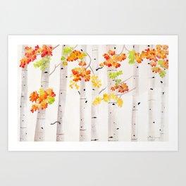 Autumn Birch Song Art Print