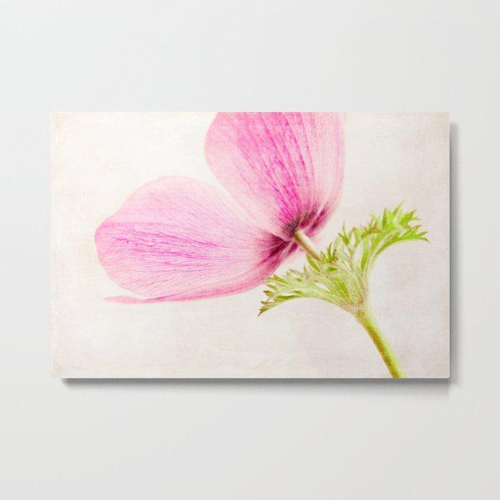 Linen In Pink Metal Print