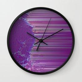 purple glitch Wall Clock