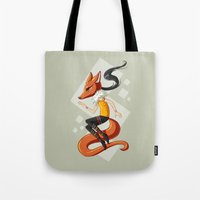 kitsune Tote Bags featuring Kitsune 2 by Freeminds