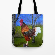 Rooster in the back yard Tote Bag