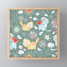 floral cat patern Framed Mini Art Print