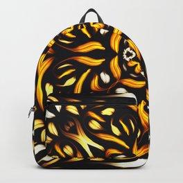 Fire Mandala - Fiery Symmetric Flower Backpack