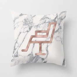 Rose Gold Salon Chair on Marble Background - Salon Decor Throw Pillow