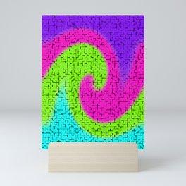Tile Twirl Digital Illustration - Lime Green Wave Swirl - Graphic Design Mini Art Print