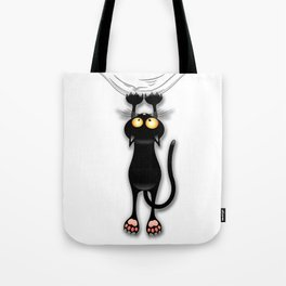 Fun Black Cat Falling Down Tote Bag