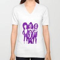 kiss V-neck T-shirts featuring Kiss by Paula García