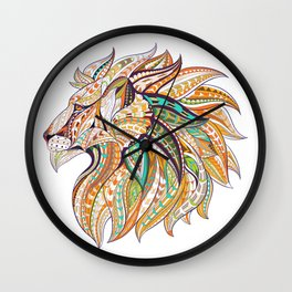 Ethnic Tribal Lion Doodle 01 Wall Clock