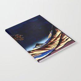The GREAT Wave Midnight Blue Brown Notebook