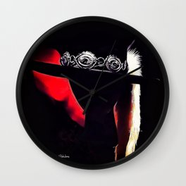 Stevie Ray Vaughan Famous Hat - Red Wall Clock
