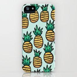 Pineapple illustration pattern on blue background iPhone Case