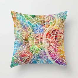 Cologne Germany City Map Throw Pillow