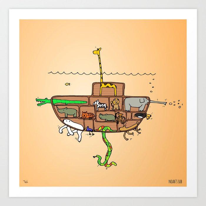 Noah S Ark Submarine Wall Art Nursery Decor For Boys Room Print By Retropaw