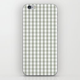 Desert Sage Grey Green and White Gingham Check iPhone Skin