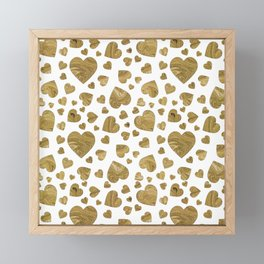 Abstract gold marble romantic valentines hearts Framed Mini Art Print