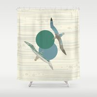 polka Shower Curtains featuring Seagull Polka by Paula Belle Flores