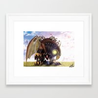 bioshock infinite Framed Art Prints featuring Bioshock Infinite: The SongBird by GIOdesign