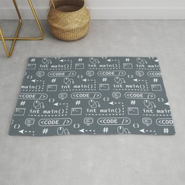 Code and things pattern - Blue Rug