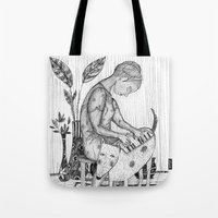 piano Tote Bags featuring piano by Agnes Laczo