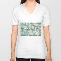 sakura V-neck T-shirts featuring Sakura by Maria Durgarian