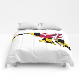 Map of Maryland with Maryland State Flag Comforters
