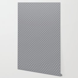 Small White Polka Dots with Grey Background Wallpaper