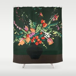 Flowers on Green Shower Curtain