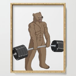 Bear Weightlifting Deadlift Fitness Gym Design  Serving Tray
