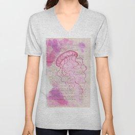 pink jellyfish Unisex V-Neck