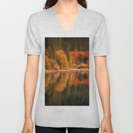 Natures Mirror reflecting Fall colors Unisex V-Neck