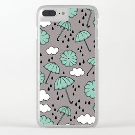 Blue umbrella sky rainy day abstract fall illustration pattern blue Clear iPhone Case