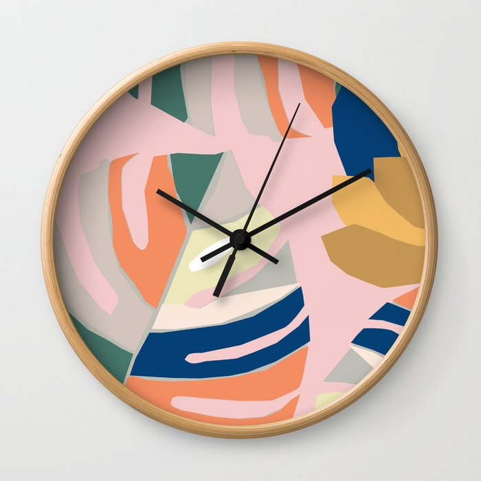 Monstera leaf Jungle mid century modern paper collage Wall Clock