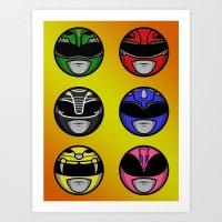 power ranger Art Prints featuring Mighty Morphin Power Ranger Headz by Omnibit Designs